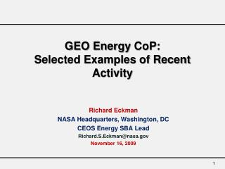 GEO Energy  CoP :  Selected Examples of Recent Activity