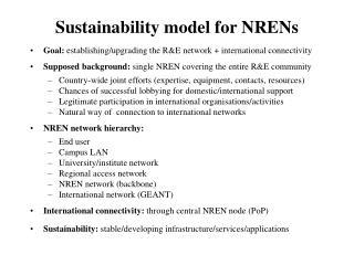 Sustainability model for NRENs