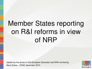 Member States reporting on R&I reforms in view of NRP