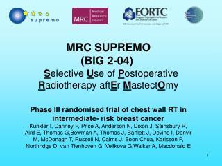 MRC SUPREMO (BIG 2-04) S elective  U se of  P ostoperative  R adiotherapy aft E r  M astect O my