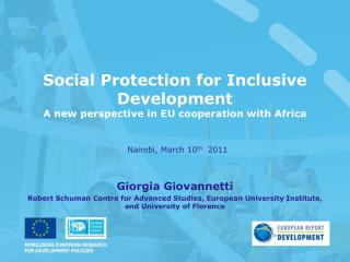 Social Protection for Inclusive Development A new perspective in EU cooperation with Africa