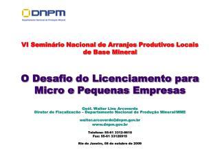 VI  Seminário Nacional  de  Arranjos Produtivos Locais  de Base Mineral