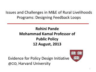 Issues and Challenges in M&E of Rural Livelihoods Programs: Designing Feedback Loops