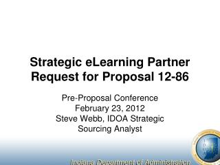 Strategic eLearning Partner Request for Proposal 12-86