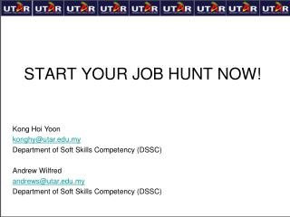 START YOUR JOB HUNT NOW!