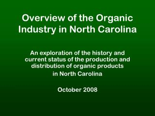Overview of the Organic Industry in North Carolina