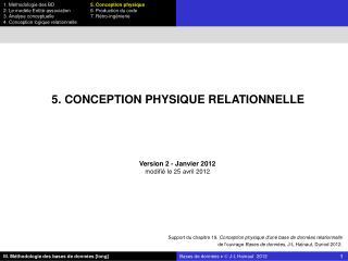 5. CONCEPTION PHYSIQUE RELATIONNELLE