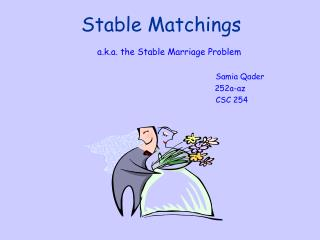 Stable Matchings a.k.a. the Stable Marriage Problem