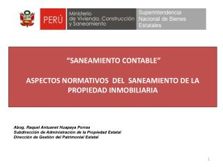 """""""SANEAMIENTO CONTABLE""""  ASPECTOS NORMATIVOS  DEL  SANEAMIENTO DE LA  PROPIEDAD INMOBILIARIA"""