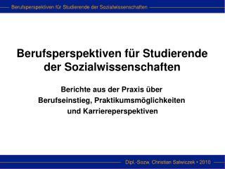 Berufsperspektiven für Studierende der Sozialwissenschaften