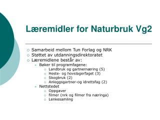 Læremidler for Naturbruk Vg2