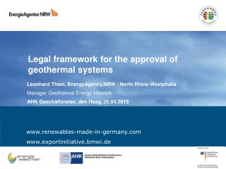 Legal framework for the approval of geothermal systems