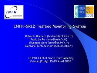 INFN-GRID Testbed Monitoring System