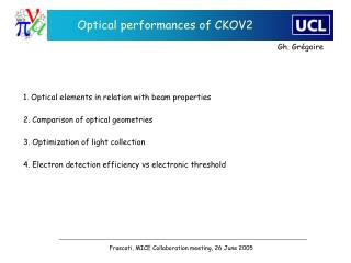 Optical performances of CKOV2