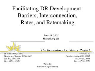 Facilitating DR Development: Barriers, Interconnection, Rates, and Ratemaking