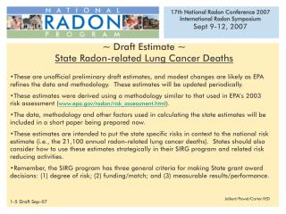 ~ Draft Estimate ~ State Radon-related Lung Cancer Deaths