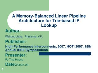 A Memory-Balanced Linear Pipeline Architecture for Trie-based IP Lookup