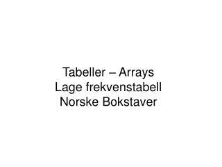 Tabeller – Arrays Lage frekvenstabell Norske Bokstaver