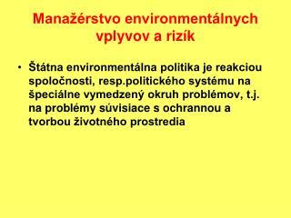 Manažérstvo environmentálnych vplyvov a rizík