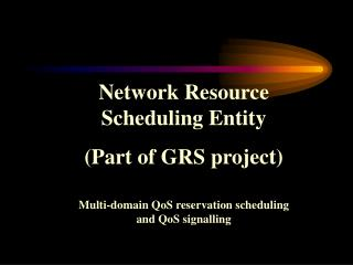 Network Resource Scheduling Entity (Part of GRS project)