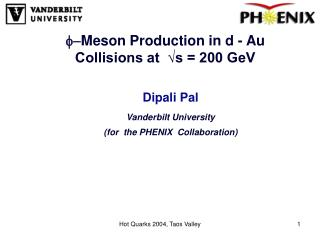 f- Meson Production in d  -  Au Collisions at  √s = 200 GeV
