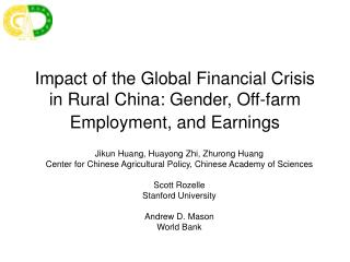 Impact of the Global Financial Crisis in Rural China: Gender, Off-farm Employment, and Earnings