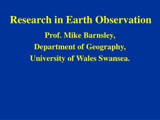 Research in Earth Observation