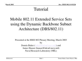 Presented at the IEEE 802 Plenary Meeting, March 2003 by