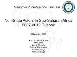 Non-State Actors In Sub-Saharan Africa 2007-2012 Outlook