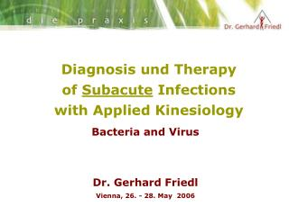 Diagnosis und Therapy of  Subacute  Infections  with Applied Kinesiology