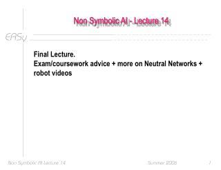 Non Symbolic AI - Lecture 14