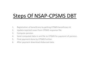 Steps Of NSAP-CPSMS DBT