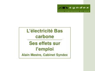 L'électricité Bas carbone Ses effets sur l'emploi  Alain Mestre, Cabinet Syndex