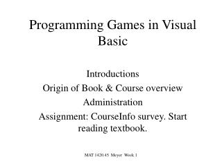 Programming Games in Visual Basic
