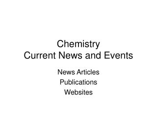 Chemistry Current News and Events