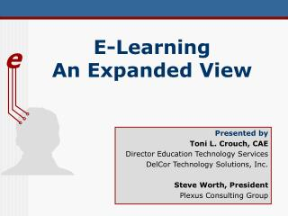 E-Learning  An Expanded View