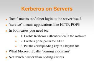 Kerberos on Servers