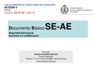 PLAN DE FORMACIÓN DEL CÓDIGO TÉCNICO DE LA EDIFICACIÓN ACCIÓN 4 CSCAE Curso 6. DB SE SE + AE y A.