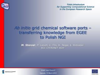 Ab initio  grid chemical software ports – transferring knowledge from EGEE to Polish NGI