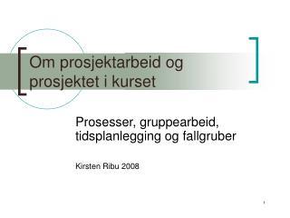 Om prosjektarbeid og prosjektet i kurset