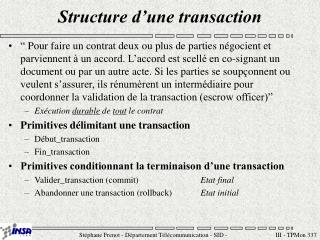 Structure d'une transaction