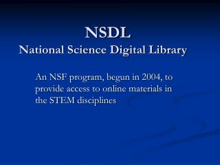 NSDL National Science Digital Library