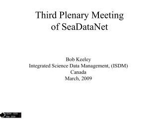 Third Plenary Meeting of SeaDataNet