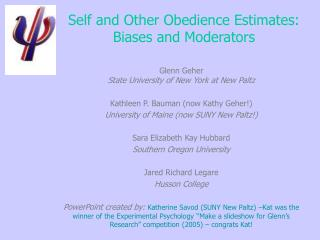 Self and Other Obedience Estimates: Biases and Moderators