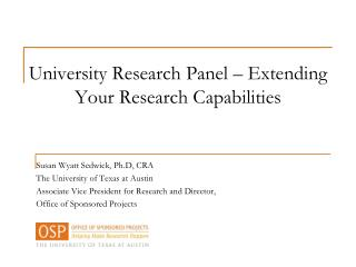 University Research Panel – Extending Your Research Capabilities