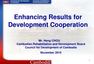 Enhancing Results for Development Cooperation