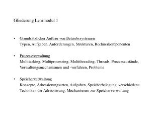 Gliederung Lehrmodul 1