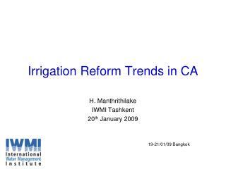 Irrigation Reform Trends in CA