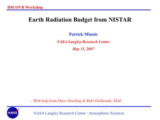 Earth Radiation Budget from NISTAR