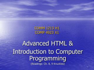 COMM 1213 H1 COMP 4923 X1